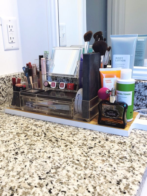Makeup organization in bathroom