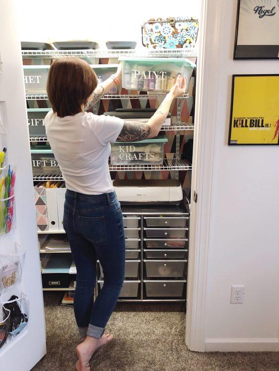 Lela Burris Craft Closet Makeover with Cricut Labels