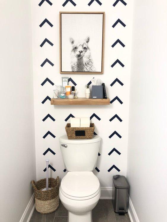 tiny hall bathroom with diy wallpaper