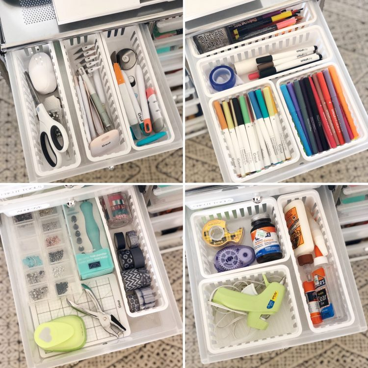 craft cart drawer organization