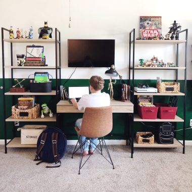 big kid bedroom storage shelving and desk organization