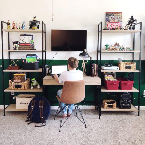 big kid bedroom storage shelving and desk organization