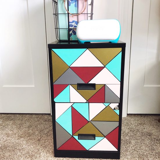 filing cabinet makeover with Cricut Joy smart vinyl