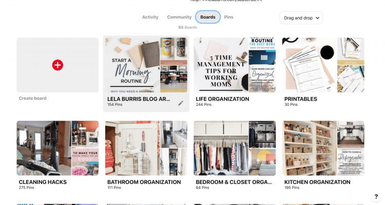 organize pinterest boards