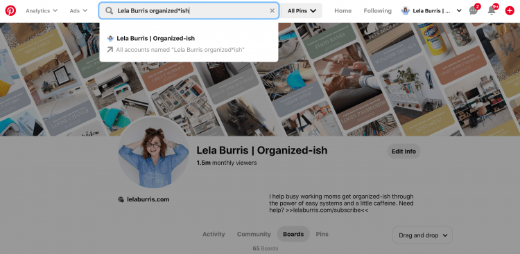 organize pinterest personal account