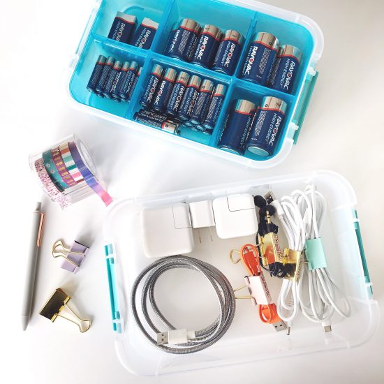 store cords and batteries in caddy