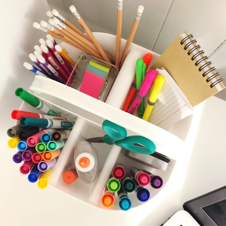 kids school supply caddy