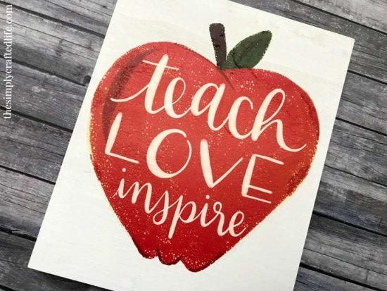 cricut wood apple sign for teacher classroom