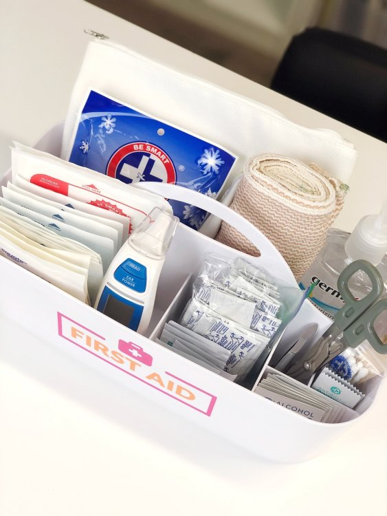 first aid kit storage in handled caddy