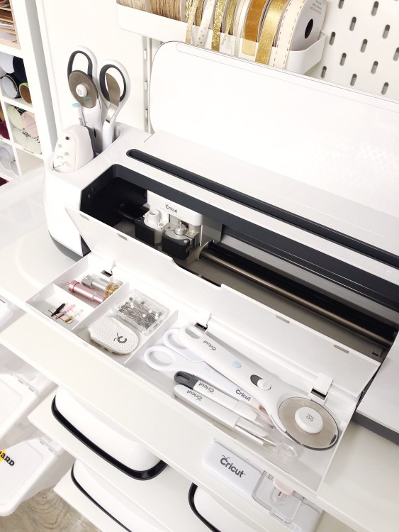 cricut maker storage for sewing tools and supplies