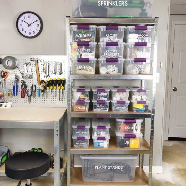 how to label garage and tool storage