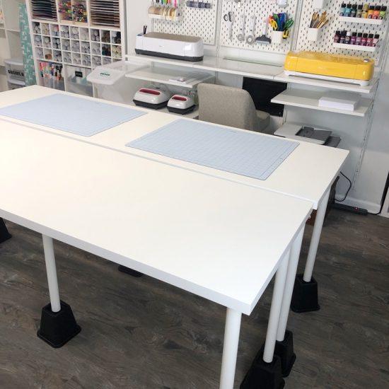 Lela Burris craft room table layout