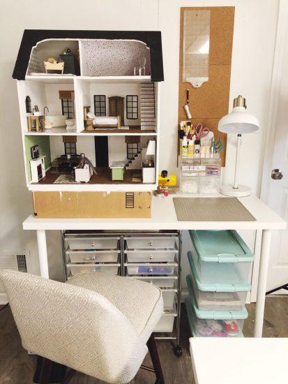 dollhouse craft room storage and organization