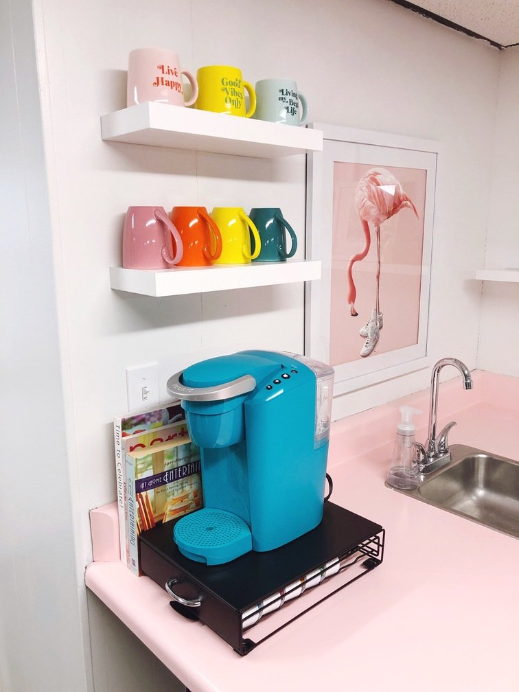 organized-ish studio colorful kitchen coffee station