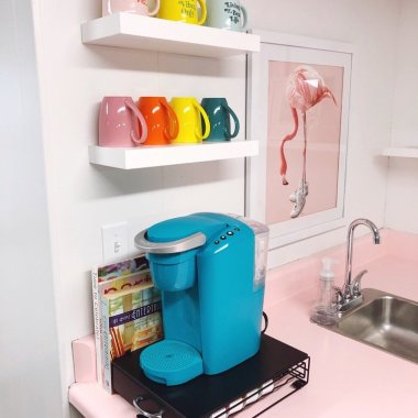 organized-ish studio colorful kitchen coffee station
