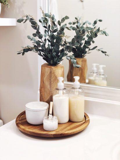 bathroom countertop organization with lazy susan