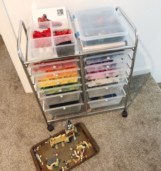 color coordinated lego storage in rolling cart