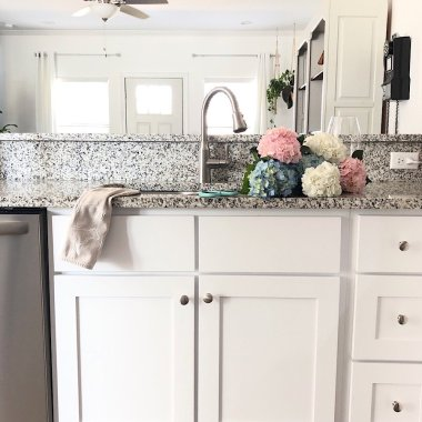 kitchen sink with hydrangeas