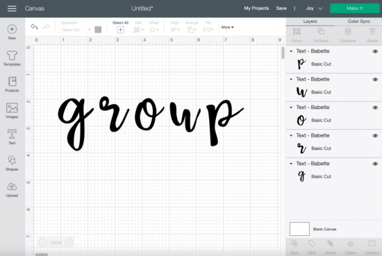 cricut design space how to group