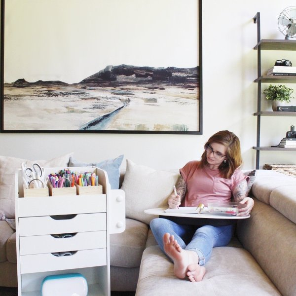 how Lela Burris organizes planner supplies and Cricut Joy materials at home