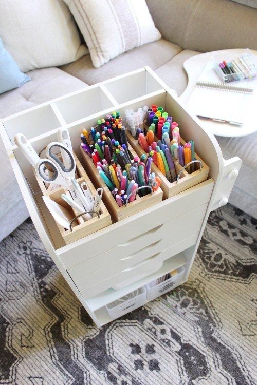 journaling and planner supplies storage cart