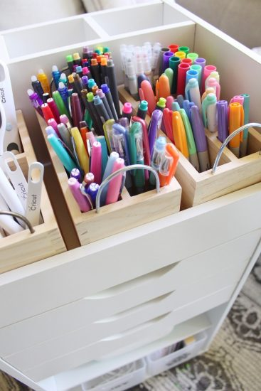 journal planner bujo pens and markers storage cart