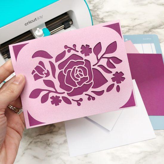 rose card Cricut Joy