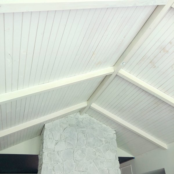paint wood planked ceiling white