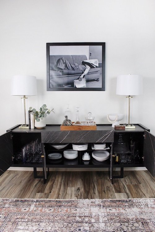 how to use a sideboard for extra kitchen storage