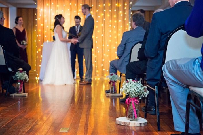 Leland Lodge | Fishtown Leland Hotel | Winter Wedding | Bride and Groom Ceremony