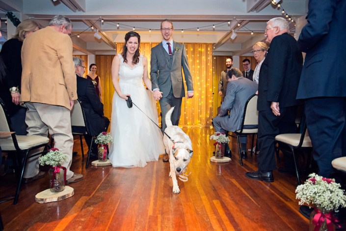Leland Lodge | Fishtown Leland Hotel | Winter Wedding | Bride and Groom and Dog