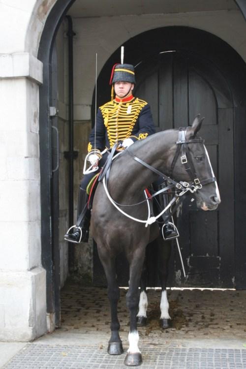 Royal Horseguard on horseback guarding the back gate of the Royal Horseguards, in dark uniform.