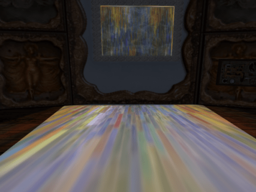 "Second Life animated ""wall fountain"" with projected lighting"