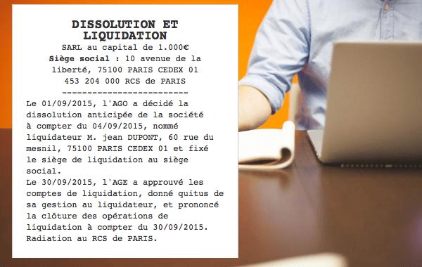 annonce legale dissolution et radiation