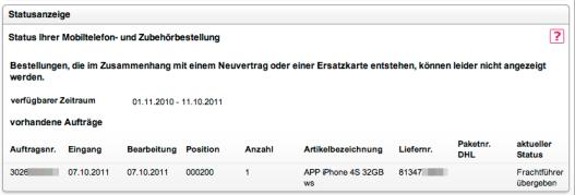 iPhone 4S - beim Frachtführer