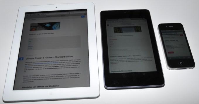 iPad 2, Nexus 7, iPhone 4