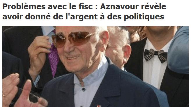 Fisc : Charles Aznavour avoue avoir corrompu des hommes politiques