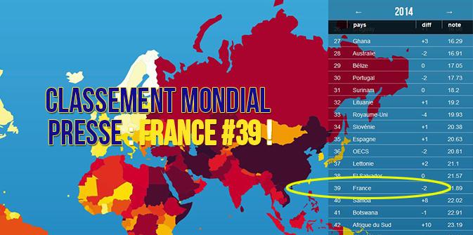 Classement mondial presse : France #39 !