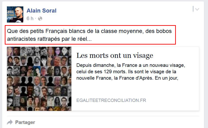 Soral/Attentats de Paris : le papy sénile récidive et insulte les morts !