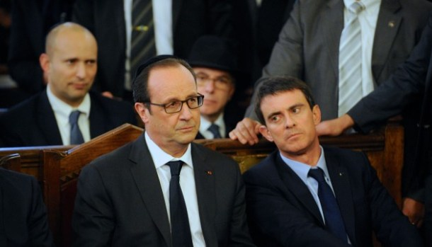 French prime minister Manuel Valls   and French President Francois Hollande attending a ceremony at the Grand Synagogue in Paris, on January 11, 2015, for all the victims of the attacks in Paris this week, which claimed 17 lives./LICHTFELD_erez7314.01030/Credit:EREZ LICHTFELD/SIPA/1501131122
