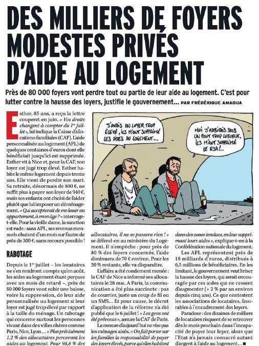 Crise : baisse des allocations logement pour 80.000 foyers français !