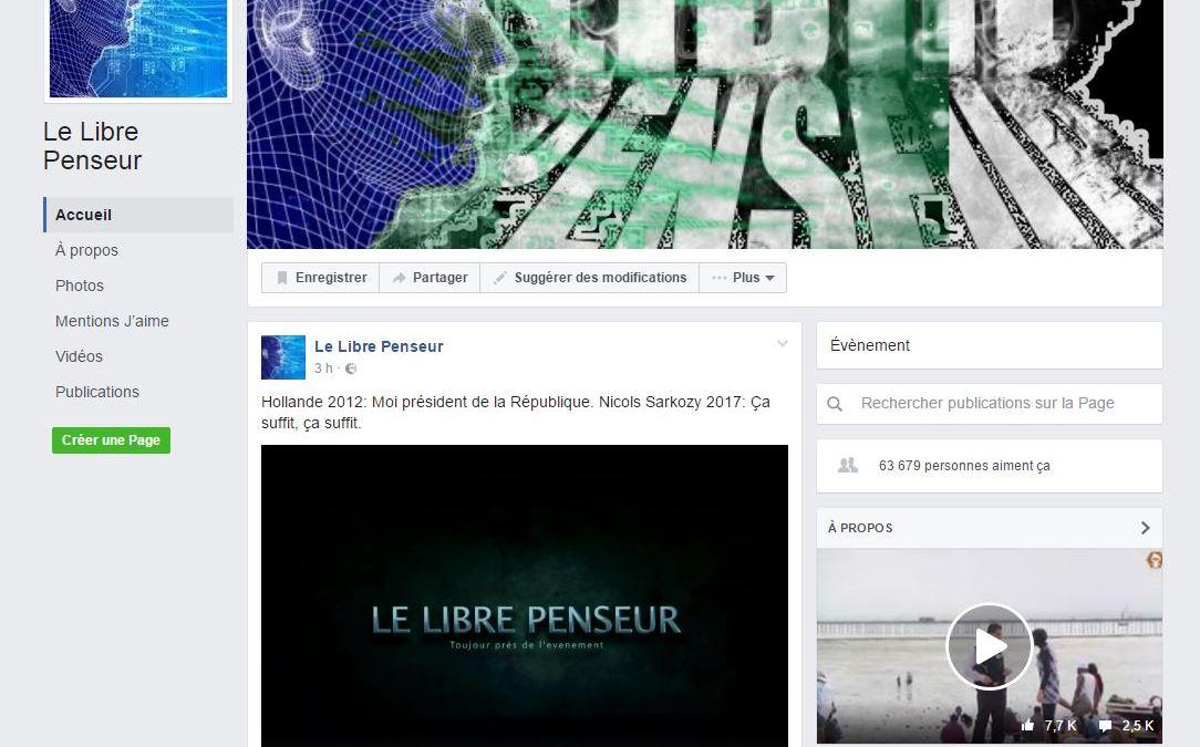 Attention à cette page Facebook Lelibrepenseur, c'est une usurpation à signaler svp