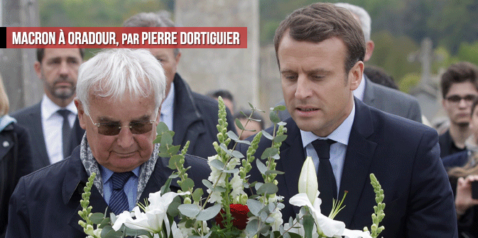 Macron à Oradour, par Pierre Dortiguier