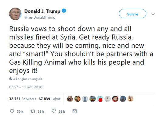 trump-tweet-contre-russie-syrie-assasd-animal