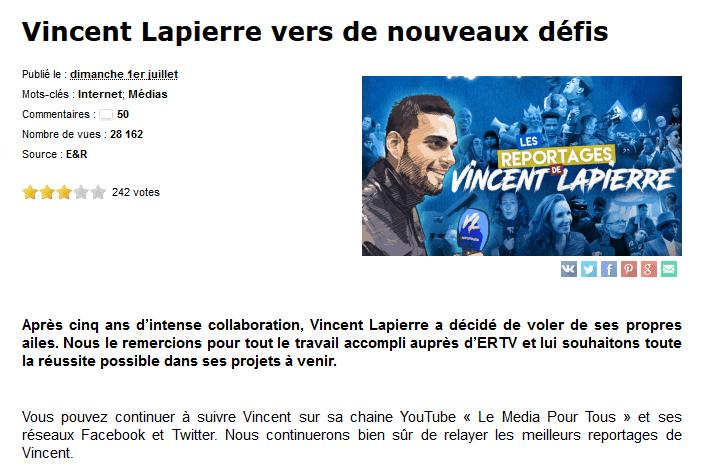 Vincent Lapierre quitte le navire E&R en pleine tourmente