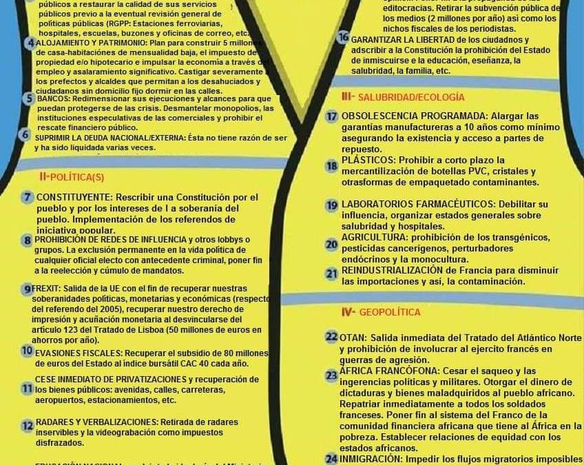 #GiletsJaunes : Estatuto oficial de los chalecos amarillos