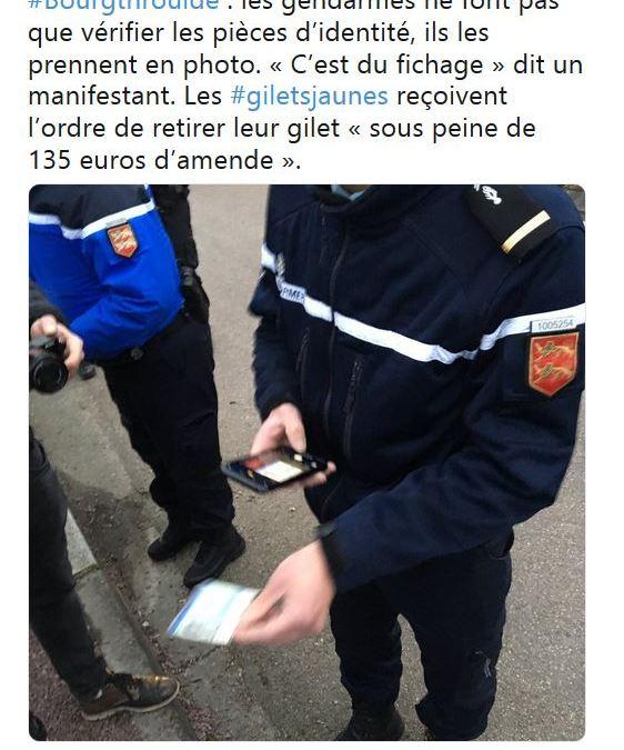 135 euros d'amende en cas de port du #GiletJaune pour la venue de Macron