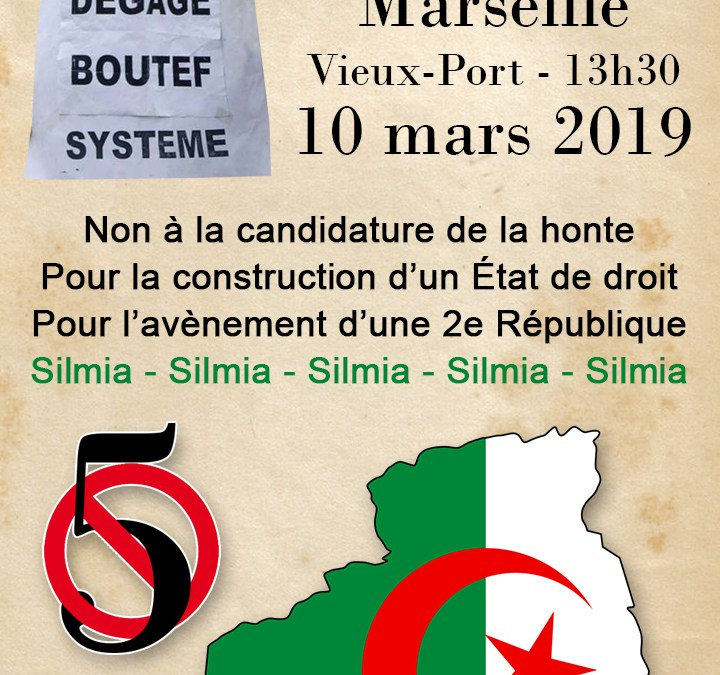 Manifestation de soutien au peuple algérien à Marseille ce dimanche 10 mars à 13h30 au Vieux-Port