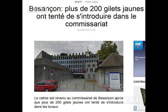 Non, 200 Gilets jaunes n'ont pas déferlé sur le commissariat de Besançon !