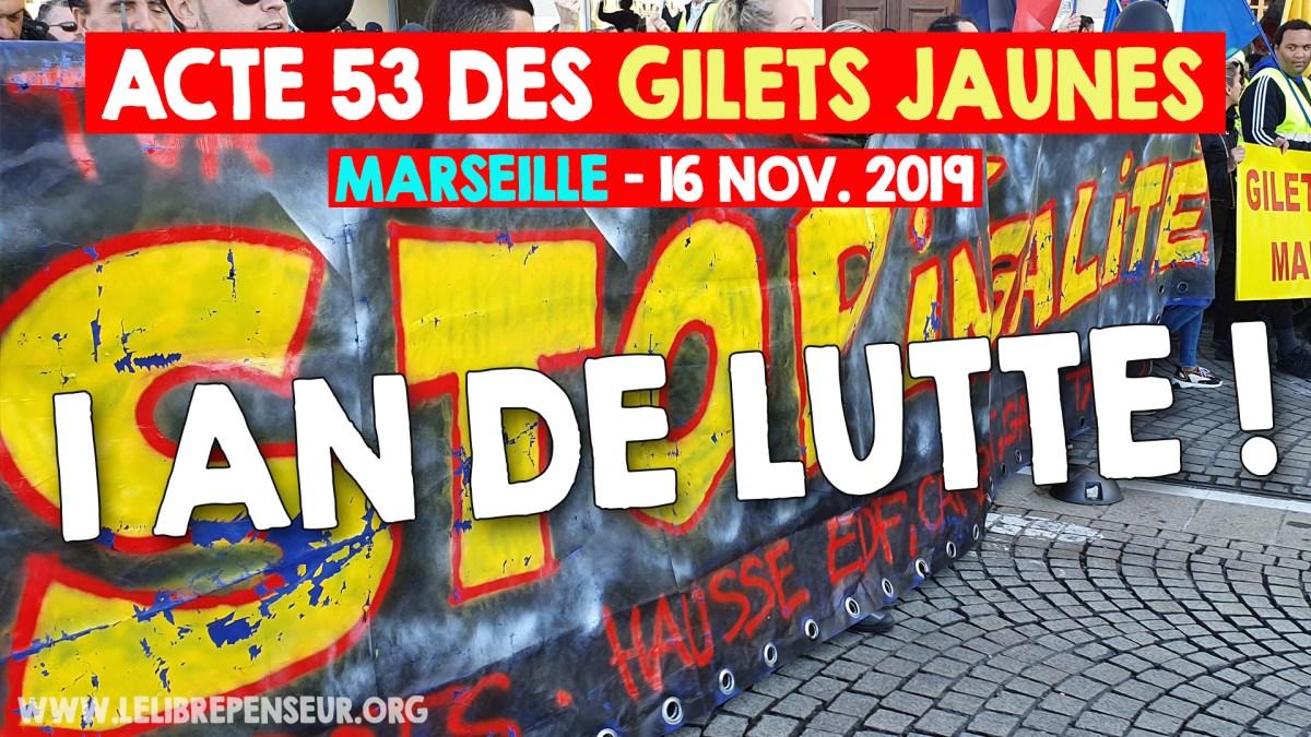 Acte #53 des #GiletsJaunes en direct de Marseille, commenté par Salim Laïbi